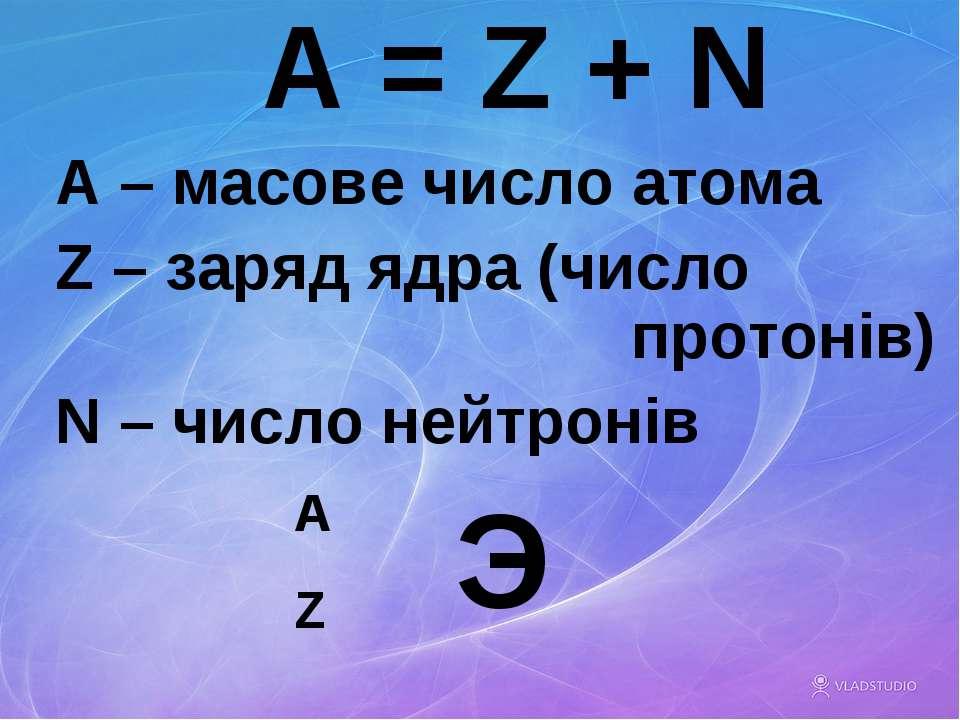 A = Z + N A – масове число атома Z – заряд ядра (число протонів) N – число не...