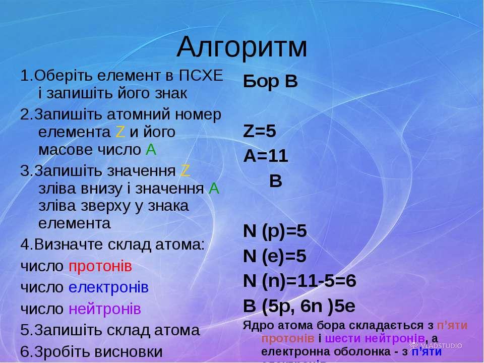 Алгоритм 1.Оберіть елемент в ПСХЕ і запишіть його знак 2.Запишіть атомний ном...