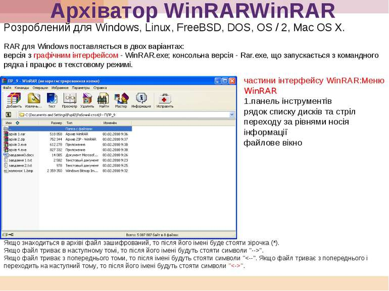 Архіватор WinRARWinRAR Розроблений для Windows, Linux, FreeBSD, DOS, OS / 2, ...