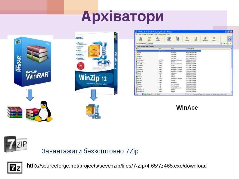 Архіватори WinAce Завантажити безкоштовно 7Zip http://sourceforge.net/project...