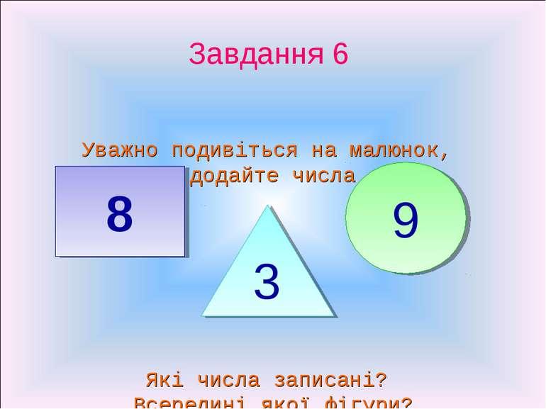 Завдання 6 Уважно подивіться на малюнок, додайте числа 8 9 3 Які числа записа...