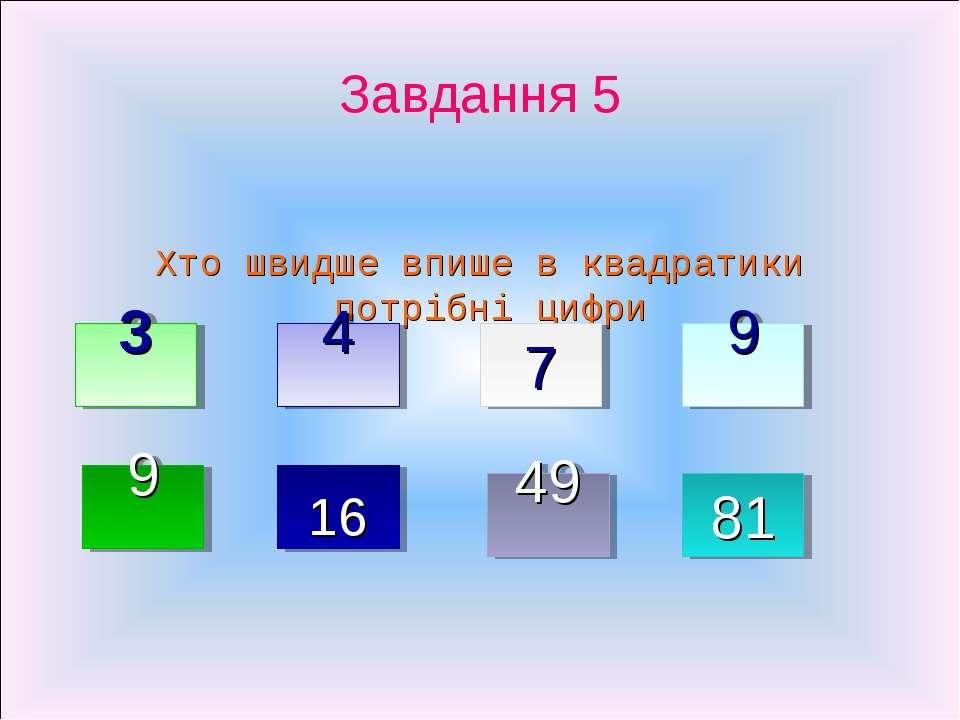 Завдання 5 Хто швидше впише в квадратики потрібні цифри 3 4 7 9 9 16 49 81