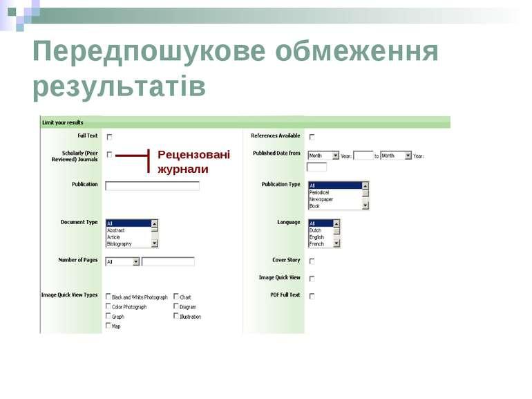 Передпошукове обмеження результатів Рецензовані журнали