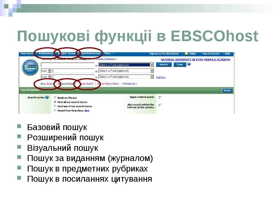 Пошукові функціі в EBSCOhost Базовий пошук Розширений пошук Візуальний пошук ...