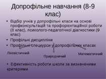 Допрофільне навчання (8-9 клас) Відбір учнів у допрофільні класи на основі пр...