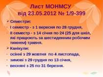 Лист МОНМСУ від 23.05.2012 № 1/9-399 Семестри: І семестр - з 1 вересня по 28 ...