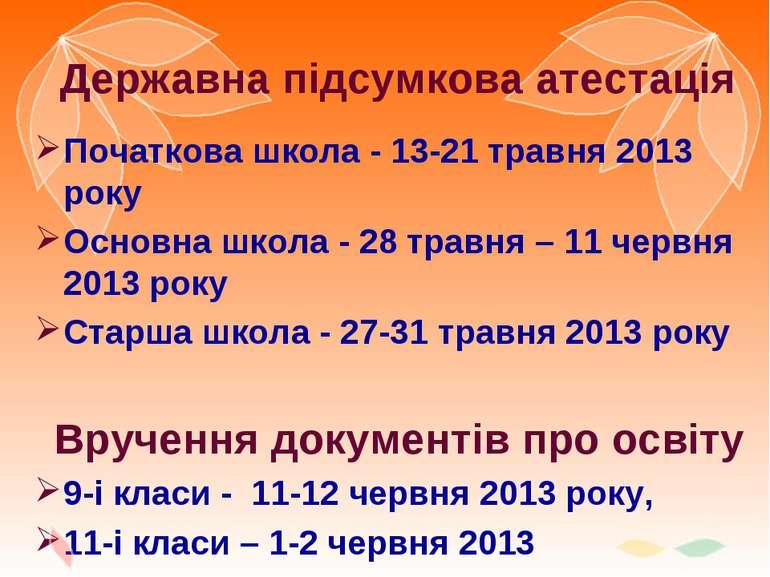 Державна підсумкова атестація Початкова школа - 13-21 травня 2013 року Основн...