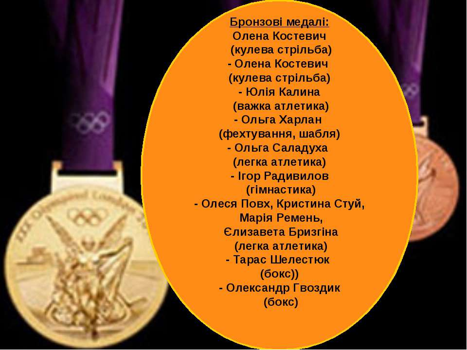 Бронзові медалі: Олена Костевич (кулева стрільба) - Олена Костевич (кулева ст...