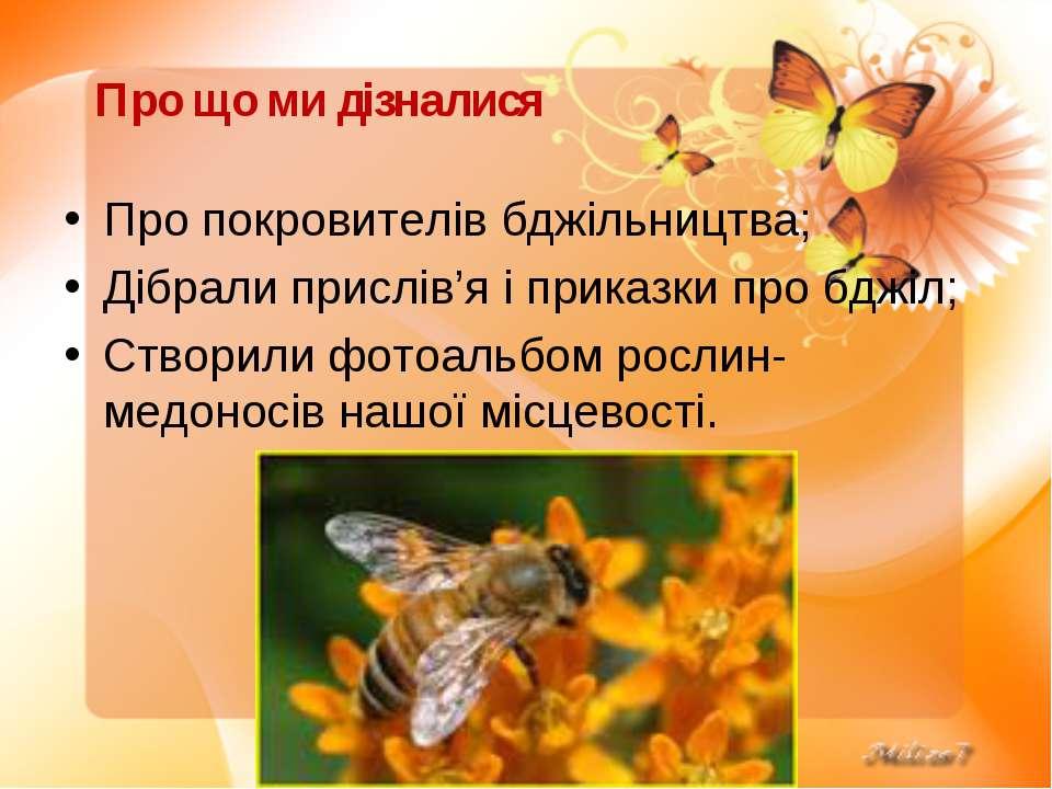 Про що ми дізналися Про покровителів бджільництва; Дібрали прислів'я і приказ...