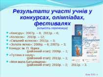 * Результати участі учнів у конкурсах, олімпіадах, фестивалях (кількість пере...