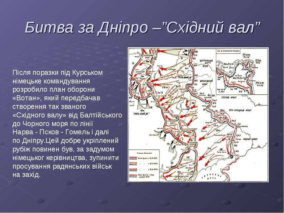 """Битва за Дніпро –""""Східний вал"""" Після поразки під Курськом німецьке командуван..."""