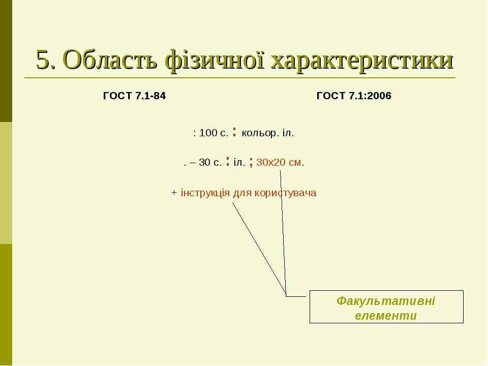 5. Область фізичної характеристики Факультативні елементи