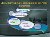 День партнерської співпраці на сьогодні включає: Курсова перепідготовка у 201...