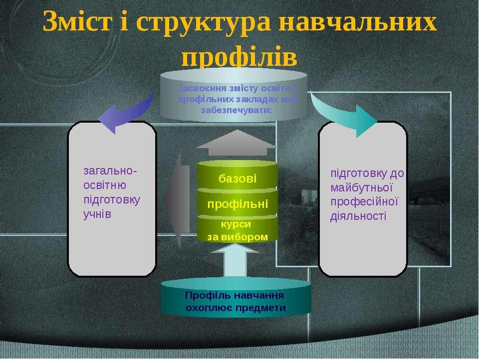 Зміст і структура навчальних профілів загально- освітню підготовку учнів підг...