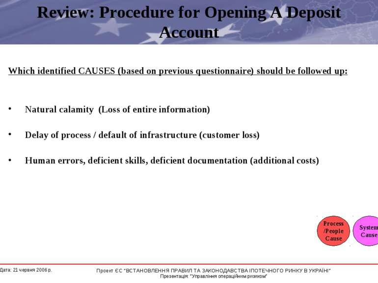 Review: Procedure for Opening A Deposit Account Which identified CAUSES (base...