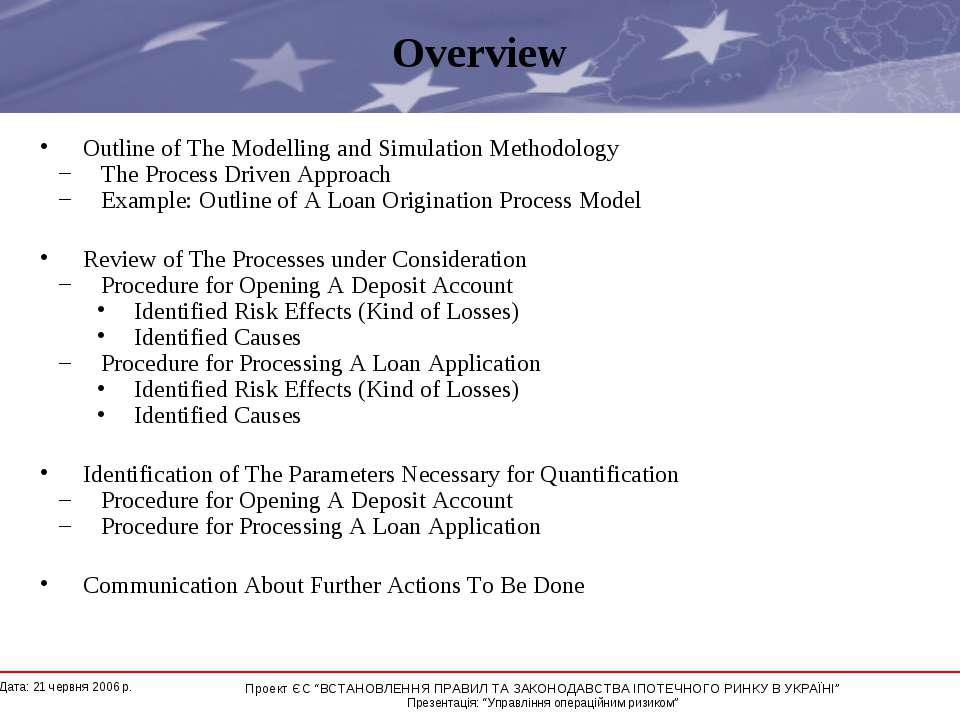 Overview Outline of The Modelling and Simulation Methodology The Process Driv...
