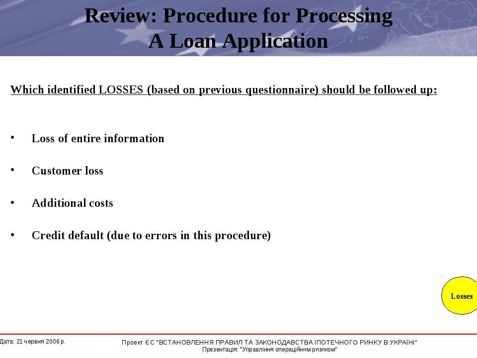 Review: Procedure for Processing A Loan Application Which identified LOSSES (...