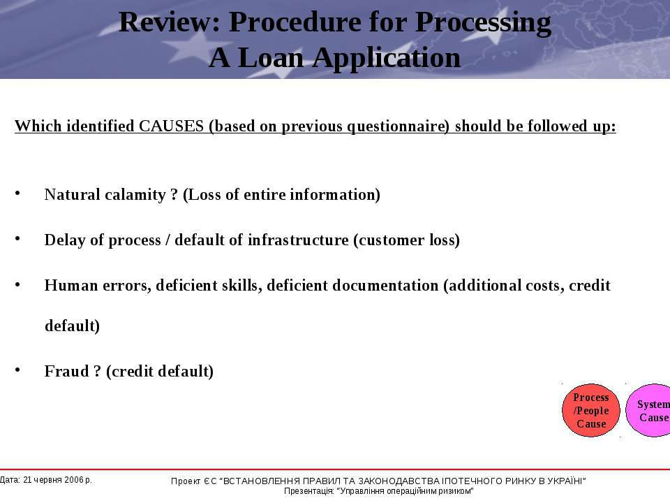 Review: Procedure for Processing A Loan Application Which identified CAUSES (...