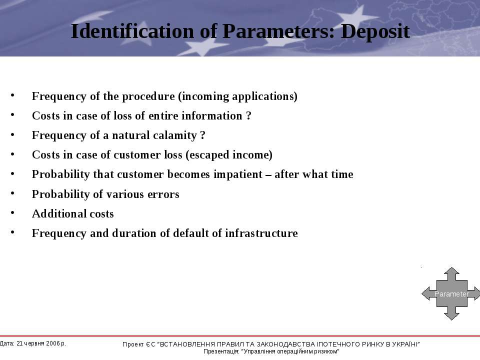 Identification of Parameters: Deposit Frequency of the procedure (incoming ap...
