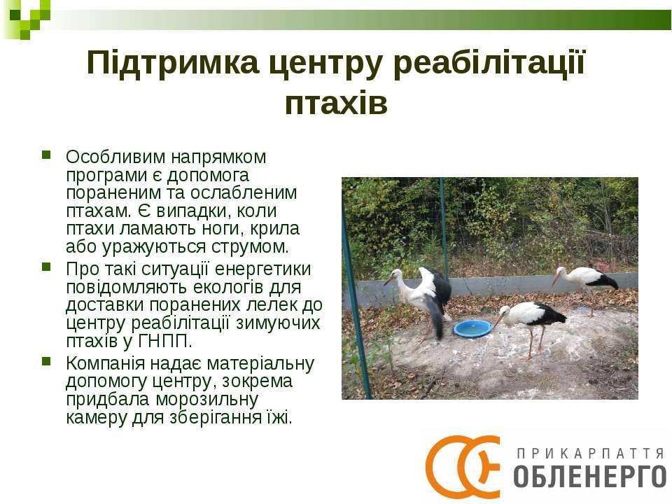 Підтримка центру реабілітації птахів Особливим напрямком програми є допомога ...