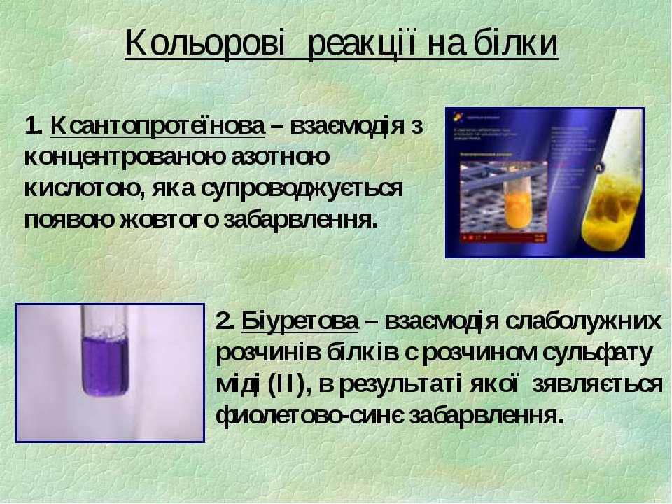 Кольорові реакції на білки 1. Ксантопротеїнова – взаємодія з концентрованою а...