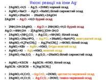 Якісні реакції на іони Ag+ 2AgNO3+H2S → Ag2S↓+2HNO3 чорний осад AgNO3+NaCl → ...