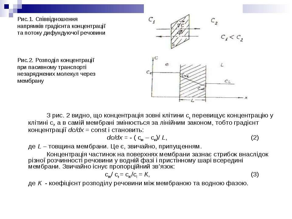 Рис.1. Співвідношення напрямків градієнта концентрації та потоку дифундуючої ...