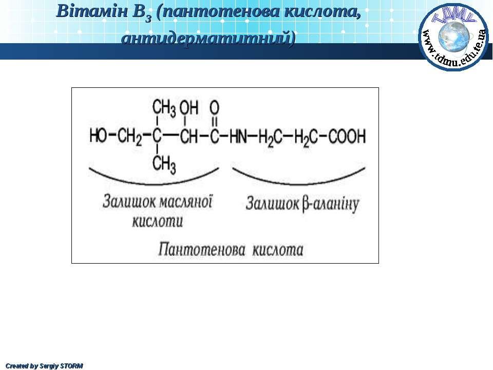 Вітамін В3 (пантотенова кислота, антидерматитний) Created by Sergiy STORM
