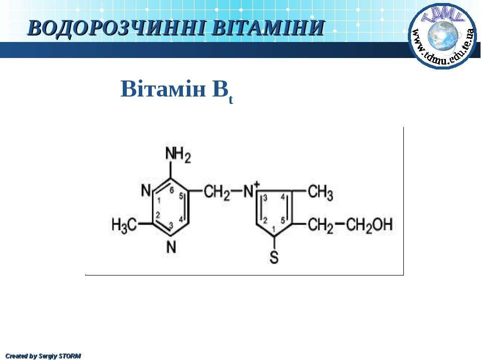 ВОДОРОЗЧИННІ ВІТАМІНИ Вітамін Bt Created by Sergiy STORM