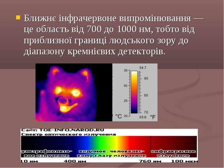Ближнє інфрачервоне випромінювання — це область від 700 до 1000 нм, тобто від...