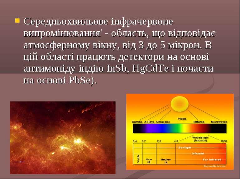 Середньохвильове інфрачервоне випромінювання' - область, що відповідає атмосф...