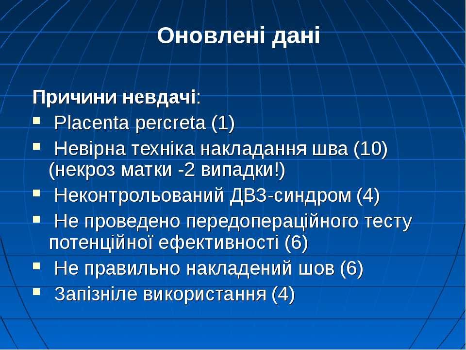 Причини невдачі: Placenta percreta (1) Невірна техніка накладання шва (10) (н...