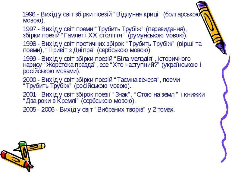 """1996 - Вихід у світ збірки поезій """"Відлуння криці"""" (болгарською мовою). 1997 ..."""