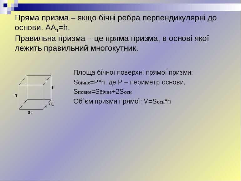 Пряма призма – якщо бічні ребра перпендикулярні до основи. AA1=h. Правильна п...