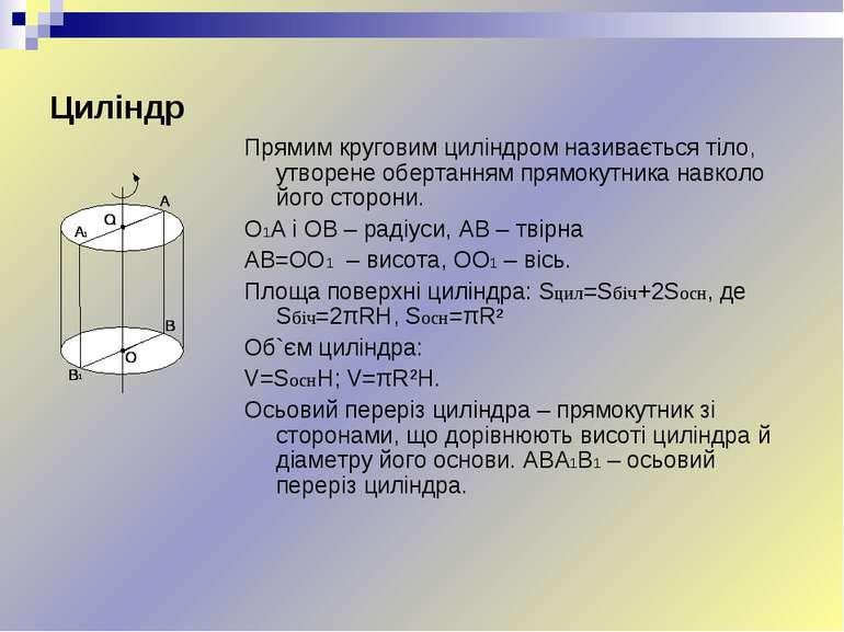 Циліндр Прямим круговим циліндром називається тіло, утворене обертанням прямо...