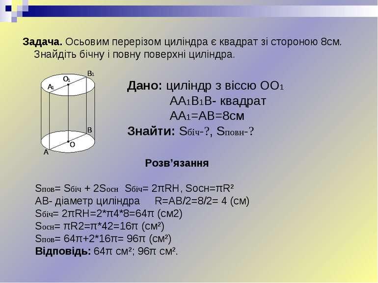 Задача. Осьовим перерізом циліндра є квадрат зі стороною 8см. Знайдіть бічну ...