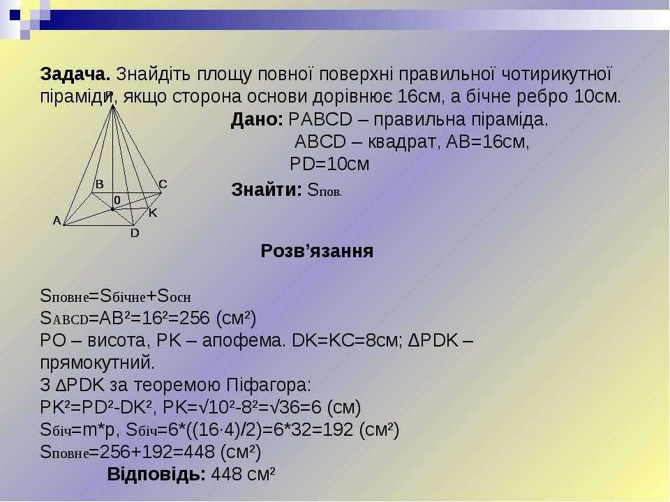 Задача. Знайдіть площу повної поверхні правильної чотирикутної піраміди, якщо...