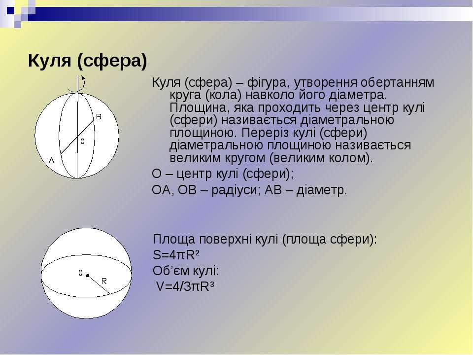 Куля (сфера) Куля (сфера) – фігура, утворення обертанням круга (кола) навколо...