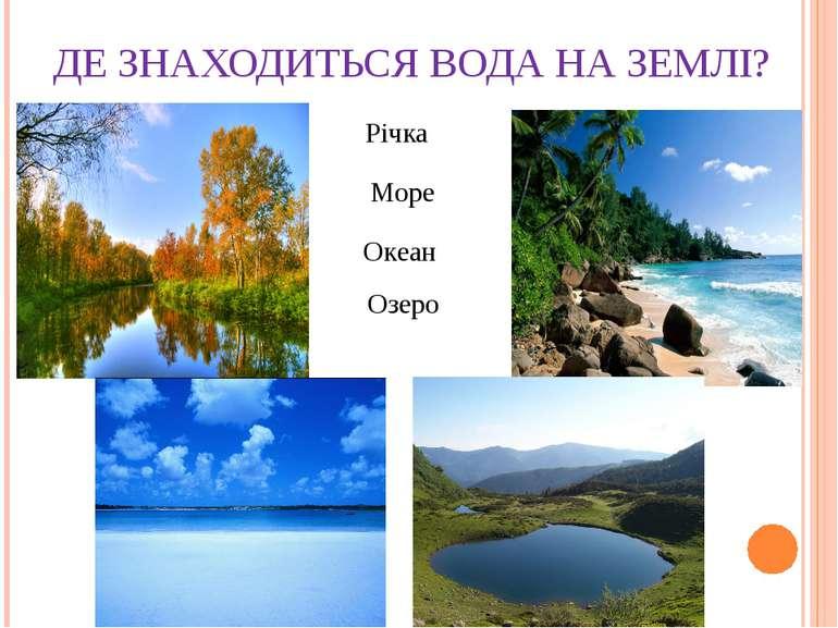 ДЕ ЗНАХОДИТЬСЯ ВОДА НА ЗЕМЛІ? Річка Море Океан Озеро