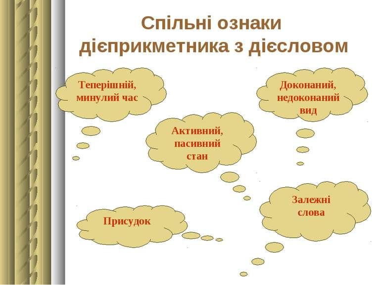 Спільні ознаки дієприкметника з дієсловом Теперішній, минулий час Доконаний, ...