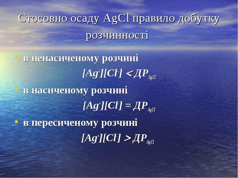 Стосовно осаду AgCl правило добутку розчинності в ненасиченому розчині [Ag+][...