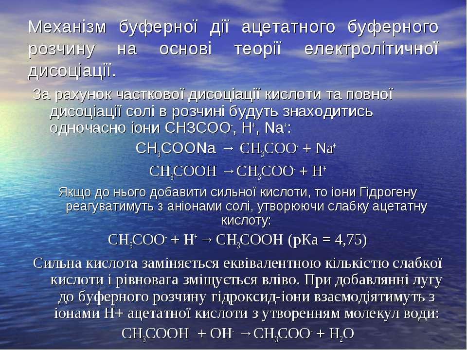 Механізм буферної дії ацетатного буферного розчину на основі теорії електролі...