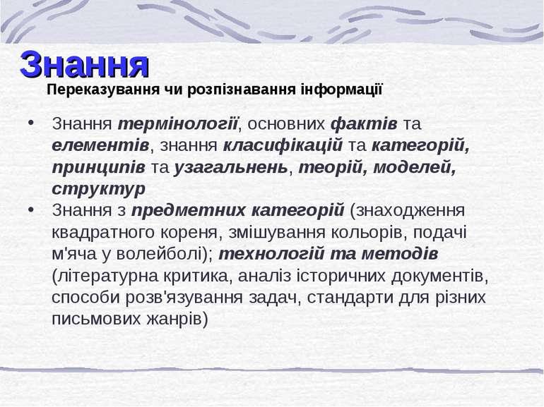 Знання Переказування чи розпізнавання інформації Знання термінології, основни...