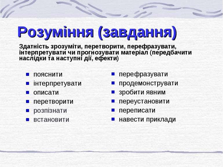 Розуміння (завдання) Здатність зрозуміти, перетворити, перефразувати, інтерпр...