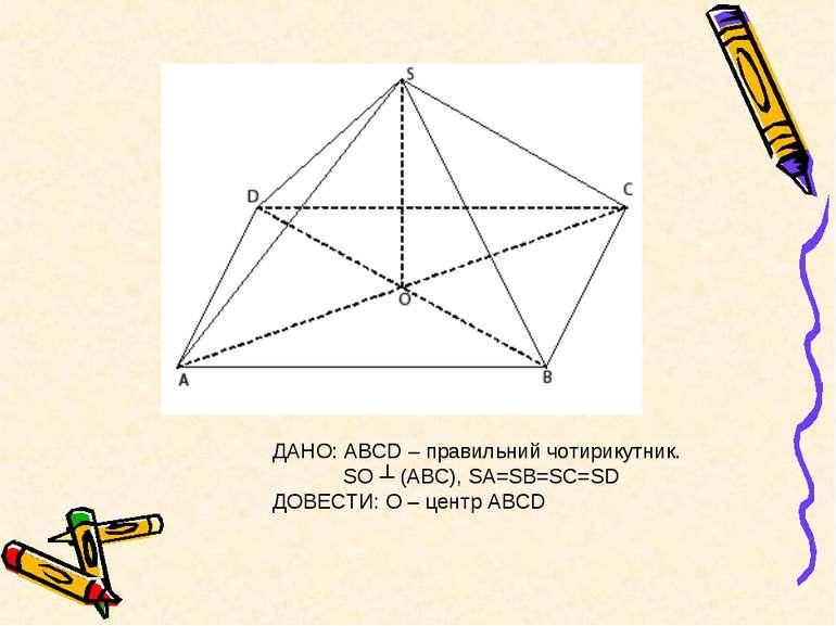 ДАНО: АВСD – правильний чотирикутник. SO ┴ (АВС), SA=SB=SC=SD ДОВЕСТИ: О – це...