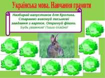 Назбирай капустинок для Кролика. Старанно виконуй письмові завдання з карток....