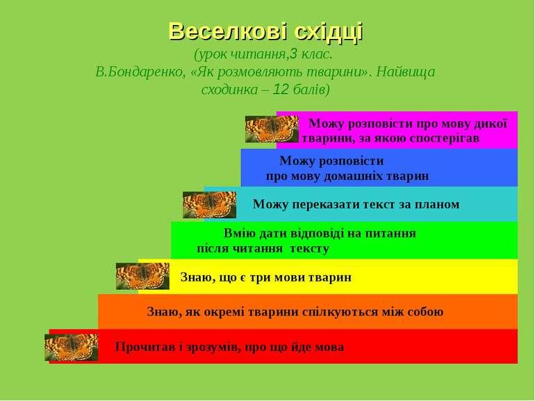Веселкові східці (урок читання,3 клас. В.Бондаренко, «Як розмовляють тварини»...