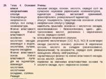 25 Тема 4. Основні класи неорганічних сполук Класифікація неорганічних сполук...
