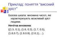 """Приклад: поняття """"високий зріст"""" Базова шкала: множина чисел, які характеризу..."""