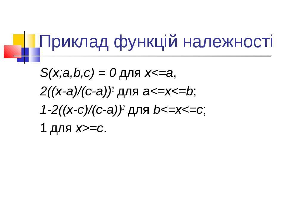Приклад функцій належності S(x;a,b,c) = 0 для x